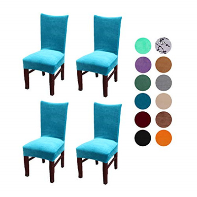 Strange Velvet Spandex Stretch Dining Room Chair Cover Removable Chair Slipcovers Set Of 4Pcs Peacock Blue Machost Co Dining Chair Design Ideas Machostcouk