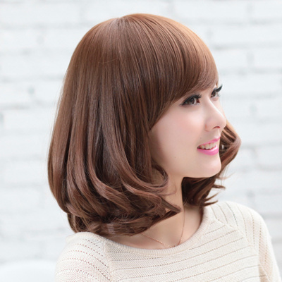 Korean Wig Woman Short Hair Curly Bobobo Head Slanted Bangs Fluffy Face Pear Flower