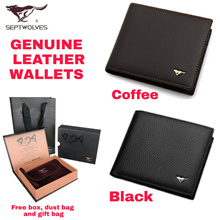 [Septwolves] Genuine Leather Wallet for Men | Cowhide | Bifold  | Black/Navy/Khaki/Brown