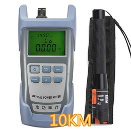 10KM Laser Cable Tester + Optical Power Meter FTTH Fiber Optic Visual Locator