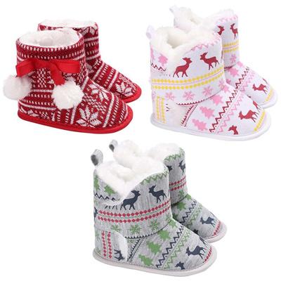d4c650cdd6d30 Newborn Christmas Deer Cute Baby Shoes Boots Crib Infant Girls Boys Toddler  First Walker Keep Warm S