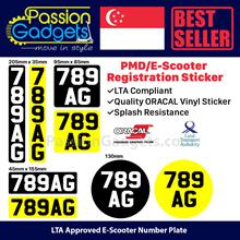 ★-Scooter LTA Compliant Identification Mark Sticker🌟🔢 Long Lasting Oracle sticker 🛴 LTA Approved✅