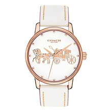 COACH GRAND ANALOG QUARTZ ROSE GOLD STAINLESS STEEL 14502973 WHITE LEATHER STRAP WOMEN S WATCH
