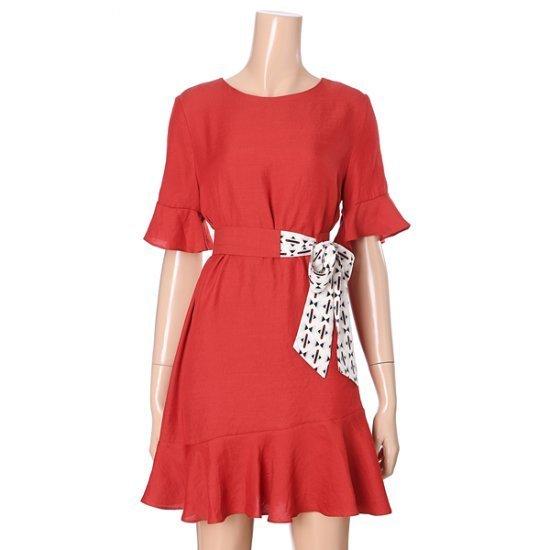 オチョク腰リボンスカーフワンピース71553115 面ワンピース/ 韓国ファッション