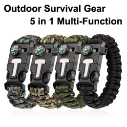 Premium Paracord Survival Bracelet Outdoor Emergency Tool Kit 5 in 1 with Compass High Quality
