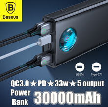 Baseus Amblight 30000mAh PD 3.0 QC3.0 33W Quick Charge Power Bank 5 Output LED Portable Charger