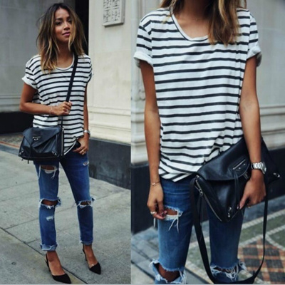 3b26e31ef95201 Casual Black and White Striped Tops Summer Fashion Ladies Short Sleeves  Round Neck T Shirts