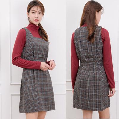 [SSophis] Check Shoulder strap One piece / 韓国ファッション / ドレス / ブラウス/ カート / ズボン / カーディガン/ ジャケット