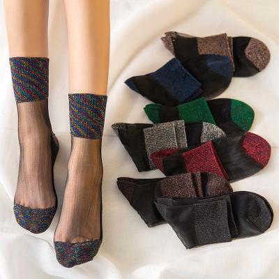 4876b89cd0e Women Silky Glitter Transparent Patch work Print Mesh Socks Fashion Short Sock  Sheer Ankle Socks
