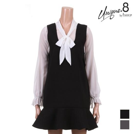 森SOUPサニー下のだんのフリルのワンピースSTJOP03 面ワンピース/ 韓国ファッション