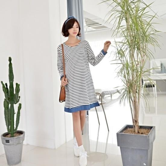 妊婦服・ドット・コムヘッジ配色のストライプの妊婦ワンピース 綿ワンピース/ 韓国ファッション