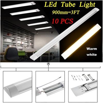 10X 3FT 90CM LED Batten Linear Tube Light Slimline Ceiling Surface Mounte  2800K