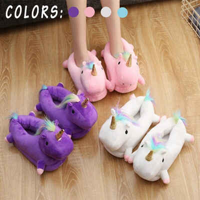 d9d8c09ce729 Brand Yeehorstar Cute Unicorn Plush Slippers Shoes Cartoon Lovely Winter  Warm Indoor Home Slippers 4