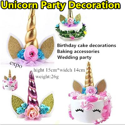 Unicorn Horns Cake Topper Decor Birthday Party Event Supplies Kids Decoration