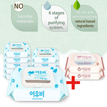 Korea wet wipes / YEOUBI Aqua / wet wipes 80sheets 10pack+Portable 2packs Giving