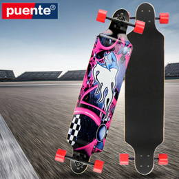 PUENTE Fashionable Long Skateboard Four-wheel Roller Scooter Travel Tools