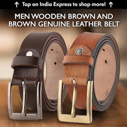 Fashno Combo Of Men Wooden Brown And Brown Genuine Leather Belt(FCMBT4021)