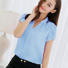 Stylish Office wear Chiffon Short Sleeve blouse non translucent Candy color