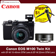 Canon EOS M100 Twin Kit with EF-M 15-45mm f/3.5-6.3 IS STM Lens and EF-M 22mm f/2 STM Lens // PWP $1 For Manfrotto Tripod
