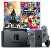 Nintendo Switch Console Super Bundle (Grey // Neon Red/Blue)