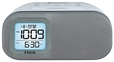 IHome iHome iBT210WS Bluetooth Dual Alarm FM Clock Radio with Speakerphone  and USB Charging - White