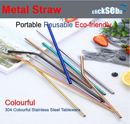 6pcs set Multi-Colour 3 Straight 3 Bent Stainless Steel Drinking Metal Straw with Cleaning Brush