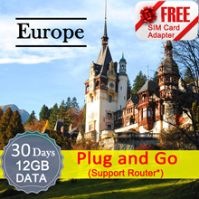 ◆ ICC◆【Europe Sim Card·30 Days】12GB Data(Support Router)  + ❤ 60 countries ❤