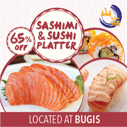 [65% off]Japanese Sashimi and Sushi Platter at Sankai Japanese Restaurant. Valid Daily at Bugis!