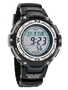 New Casio SGW-100-1V Black Resin Sport Gear Twin Sensor Sports Men Watch SGW100