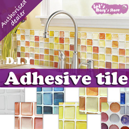 [Korea Authentic] ★Beaus Tile ★ 6 PCS set!!  adhesive tile / innovative wall sticker / Fast Local Delivery! Home Decor furniture table  Tile Bathroom Kitchen Removable 3D Wallpaper Foil Sticker DIY