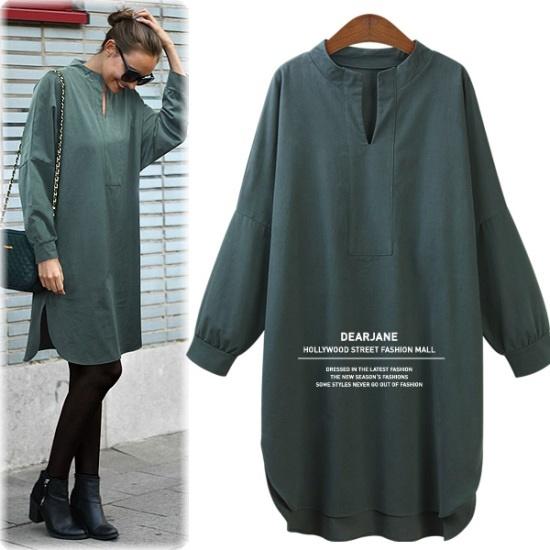 ディアジェーン自体生産ポグンゴッの起毛ロングシャツ、ワンピースM3845 綿ワンピース/ 韓国ファッション