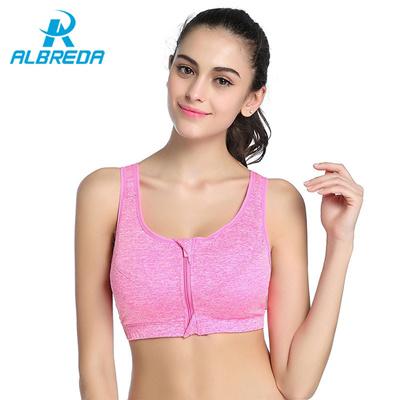 1486cd60c6947 ALBREDA Women Sports Bra Zipper Stretch Push Up Shockproof Top Underwear  Running Gym Fitness Ladies