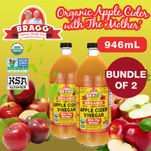 Bundle of 2x 946ml Braggs Original Apple Cider Vinegar !