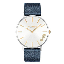 COACH PERRY ANALOG QUARTZ SILVER STAINLESS STEEL 14503156 BLUE LEATHER STRAP WOMEN S WATCH