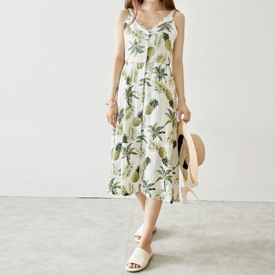 イニクパイナップルリンネンOPSワンピース 綿ワンピース/ 韓国ファッション