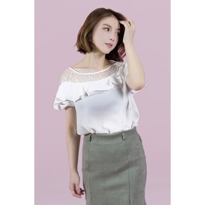 08. frill trimmed lace blouse - white - free