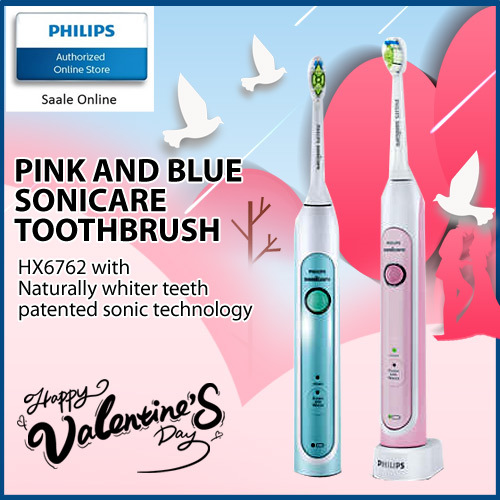 Philips Pink and Blue Limited Edition Sonicare HealthyWhite Electric Toothbrush HX6762 Deals for only S$319 instead of S$319
