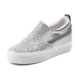 Hidden Heels women s shoes kick Korean Style 2019 spring new hundred Casual sequined muffins, thick-