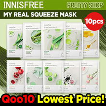 💝QOO10 LOWEST PRICE GUARANTEE💝 [INNISFREE] MY REAL SQUEEZE MASK 10PCS / MASK SHEET