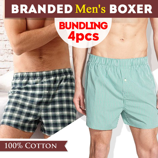 [BUNDLING 4 PCS] Branded Mens Woven Boxers_Super Comfortable Material_Underwear Deals for only Rp108.000 instead of Rp108.000