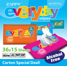Zappy Everyday CTN DEAL/ 36 PKTS/ Antibacterial/ No Alcohol/ Hands mouth/ Made in SG