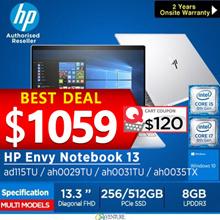 HP ENVY 13-ad115TU/ah0029TU Notebook( 8th Gen Intel i5-8250U 8GB 256GB/360GB PCIe)|Lightweight Laptop|Local Stock Local Warranty|