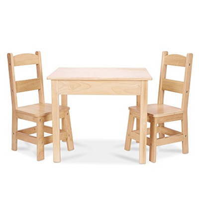 2211c658e71 Melissa Doug Solid Wood Table and 2 Chairs Set - Light Finish Furniture for  Playroom