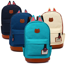 【TEEMI】 Korean Kitten Cat Ear Canvas Backpack School Bag Leather Lash Tab