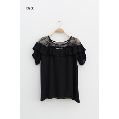 08. frill trimmed lace blouse - black - free