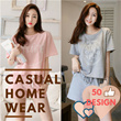 [Buy 3 in 1 Shipping] Casual HomeWear SET Korean version lovely pajamas summer set cotton short-sleeve top and bottoms fashion comfortable