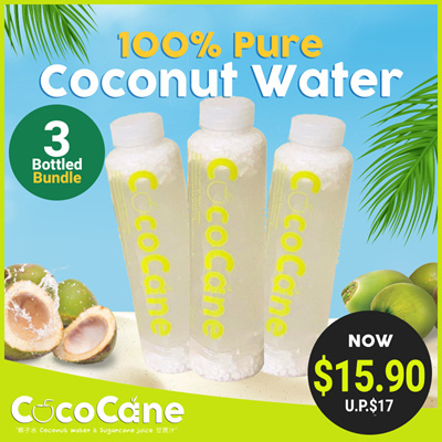 3 x 400ml Bottle 100% Pure Coconut Water (UP$17)