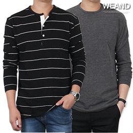[WEAND] The leader of eye-catching T-shirts / round / V-neck / stripe / man to man / saint