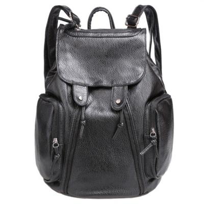 Tas Ransel Fashion Bahan Kulit Tas Punggung Kulit Desain Fashionable Leather Backpack - Black