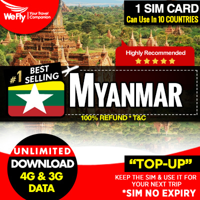 Myanmar Sim card ( Telenor/MPT Network): 7 days unlimited 4G data More  plans available